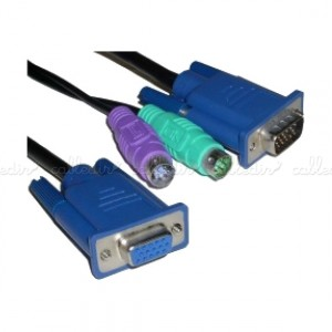 Cable especial 3-en-1 VGA/PS2 (HD15/HD15M+MD6M+MD6M)