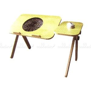 Mesa de madera con ventilador para portátil y ratón