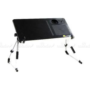 Mesa de aluminio para portátil y ratón de color negro