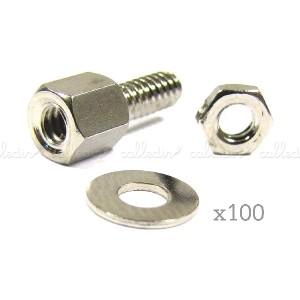 Tornillería para conector D-Sub con tuerca (100 uds)