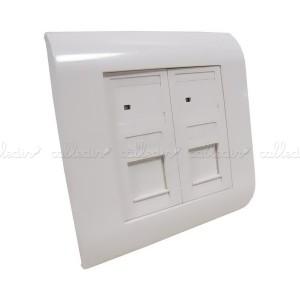 Caja de pared o canaleta de 80x80 con 2 RJ45 FTP Cat. 5e 568B