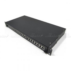 Patch panel de 24 RJ45 Cat. 5e FTP 1U negro en cajón extraible