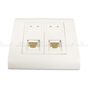 Caja de pared o canaleta de 80x80 con 2 RJ45 UTP Cat. 6 568B
