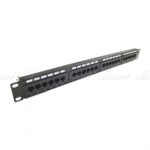 Patch panel de 24 RJ45 Cat. 6 UTP 1U negro con peine
