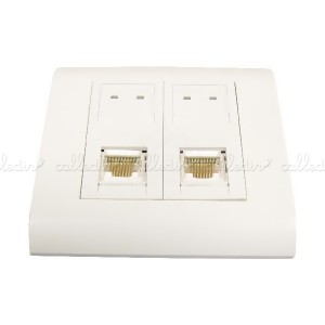Caja de pared o canaleta de 80x80 con 2 RJ45 FTP Cat. 6 568B