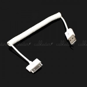 Cable de sincronización y carga para iPod iPhone e iPad USB 1m rizado 30pin